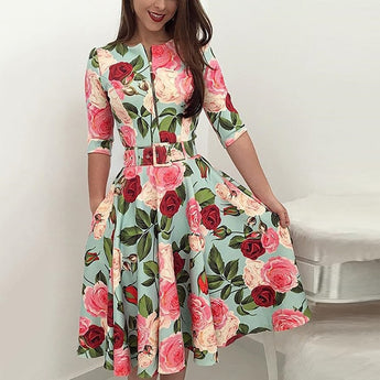Two Style Dresses Floral Print Zipper