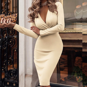 Deep V-Neck Party Wrap Dress Fold