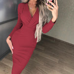 Load image into Gallery viewer, Deep V-Neck Party Wrap Dress Fold