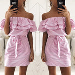 Load image into Gallery viewer, Off Shoulder Dress Ruffles Striped