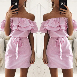 Off Shoulder Dress Ruffles Striped
