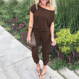 Off Shoulder Women Jumpsuit Slash Neck