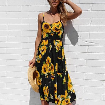 61203dec07 Summer Floral Print Strap Casual Button Midi Dress with Pockets
