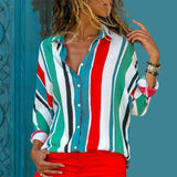 Long Sleeve Turn Down Collar Chiffon Blouse