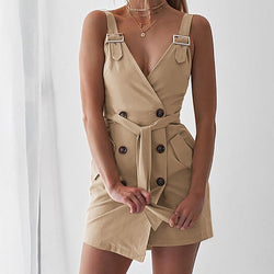 Buttons Deep V-Neck Adjustable Straps