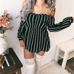 Load image into Gallery viewer, Off Shoulder Striped Button Dresses Women Long Sleeves