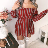 Off Shoulder Striped Button Dresses Women Long Sleeves