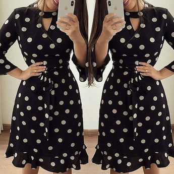 Half Sleeve Polka Dot Floral Print Midi Dress