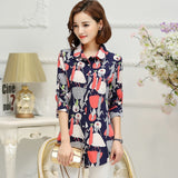Print Long Sleeve Chiffon Shirt