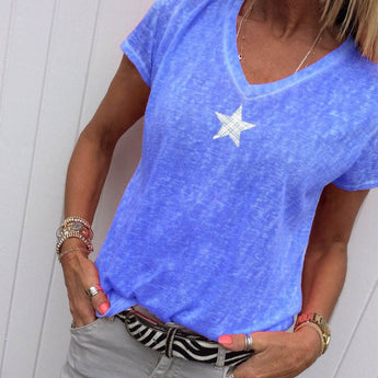 V-neck Star Print Blouses