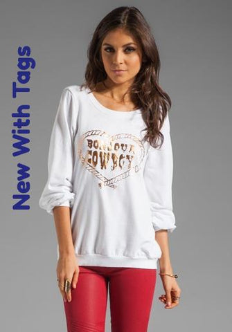 "Chaser Revolve.com - ""Bonjour Cowboy"" Pullover Sweater - Sz Small - HEART 'n' SLEEVE"