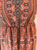 Peppermint - Aztec High Low Dress with Elastic Waist Keyhole Back - Sz Medium - HEART 'n' SLEEVE
