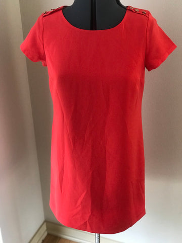 Red Short Sleeve Tunic Dress with Gold Buttons Sz Small - HEART 'n' SLEEVE