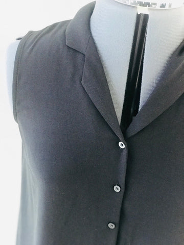Black Sleeveless Long Button Down Dress/Cardigan - Sz 2 - HEART 'n' SLEEVE