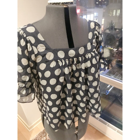 100% Silk Polka Dot Transparent Cropped Blouse - Sz Medium - HEART 'n' SLEEVE