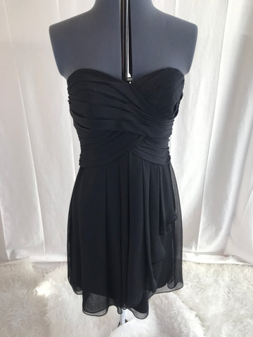The Classic Black Bridesmaid Dress - Pleated Front Sweetheart Neck Strapless Black Dress - Sz 10