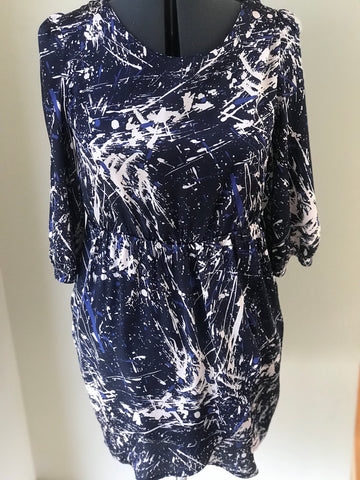 Paraella- Paint Splattered Print 3/4 Sleeve Dress - Sz Medium