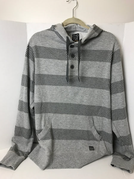 EMPYRE - Men's Hooded Half Button Up Stripped Sweatshirt - Sz Medium - HEART 'n' SLEEVE