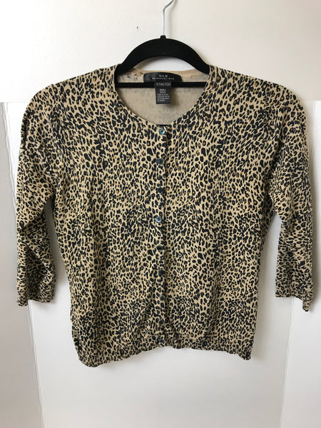 SILX by August Silk - Animal Print Silk Cardigan - Sz Small - HEART 'n' SLEEVE