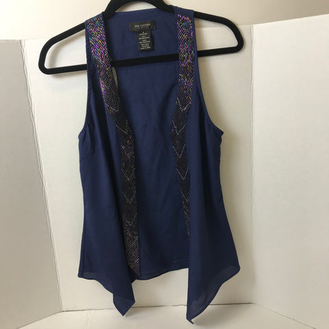 MM Couture by Miss Me - Beaded Blue Vest - Sz Small - HEART 'n' SLEEVE