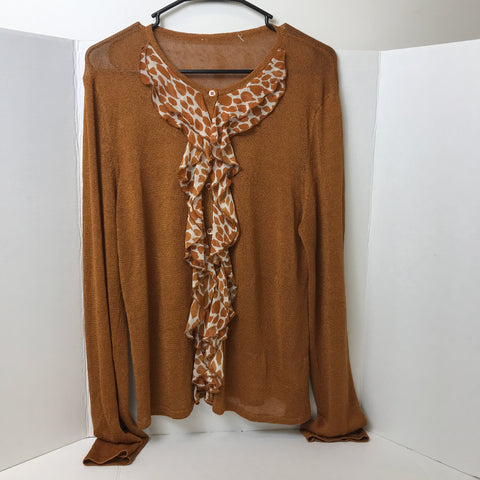 Brown Sheer Button Up Cardigan with Animal Print Fringe - Sz XL - HEART 'n' SLEEVE