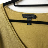 Cable & Gauge - Metallic V-Neck Long Sleeve Gold Thin Sweater - Sz Medium - HEART 'n' SLEEVE