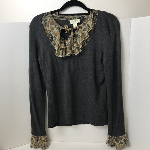 Ann Taylor Loft - Thin Sweater with Decore Fringe - Sz M - HEART 'n' SLEEVE