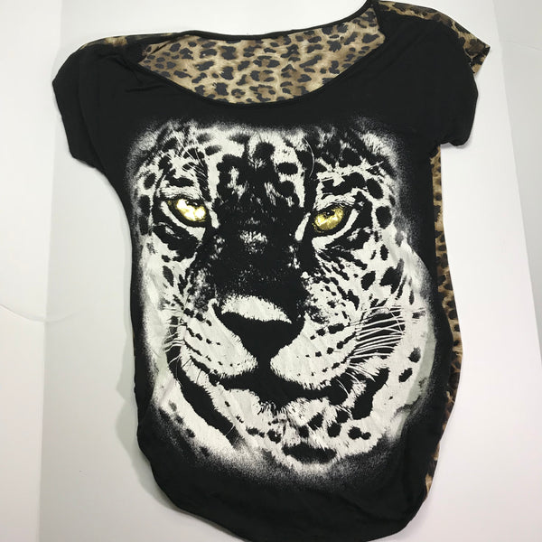 Eye of the Tiger Animal Print T-Shirt - Sz M - HEART 'n' SLEEVE