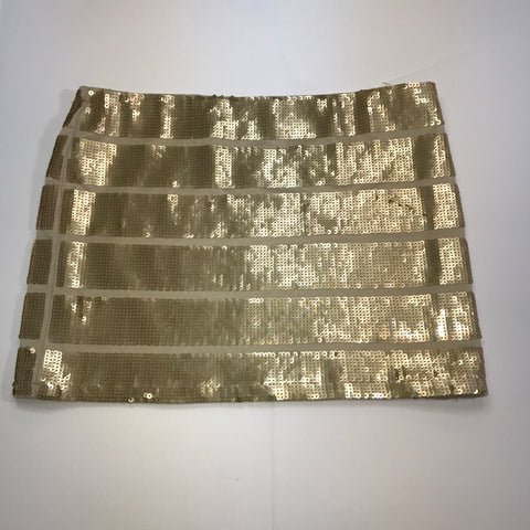 Forever 21 - Sequined Gold Elastic Waist Mini Skirt - Sz Medium - HEART 'n' SLEEVE