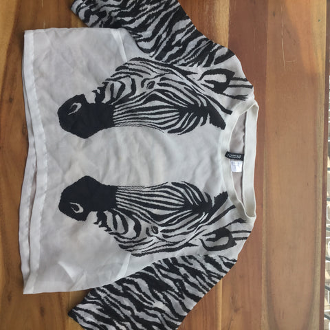 Zebra Print Sheer Crop Short Top