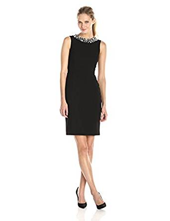 Women's Black Pearl Trimed Neckline Sheath Dress Sz