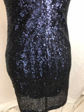 Sequined Low Cut Back Navy Stretch Dress  - Sz Small - HEART 'n' SLEEVE