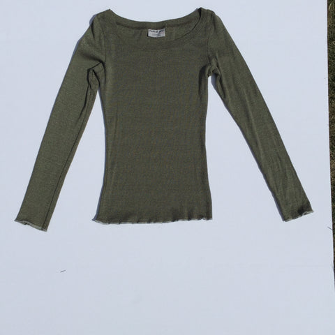 Michael Stars – The Classic Shimmer Long Sleeve Scoop Neck Top - Sz One Size Fits All - HEART 'n' SLEEVE