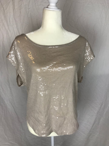 Low Cut Back Exposed Collarbone Subtle Sequin Top - Sz Medium - HEART 'n' SLEEVE