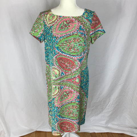 Talbots - Paisley Southhampton Diagonal Short Sleeve Tunic Dress - Sz 10