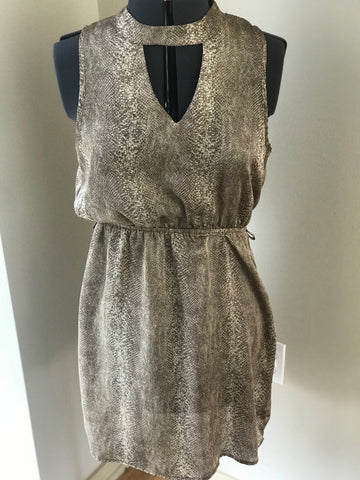 Tyche - Key Hole Animal Print Dress w/ Elastic Waist - Sz M/L