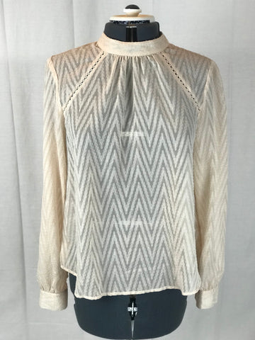 Free People - Chevron Burn Out Long Sleeve Pale Pink Blouse - Sz Medium - HEART 'n' SLEEVE