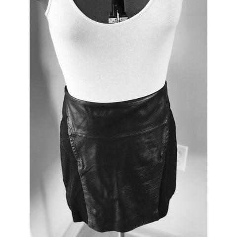 Intermix BB Dakota - Black Leather Mixed Stretch Mini Skirt - Sz Medium - HEART 'n' SLEEVE