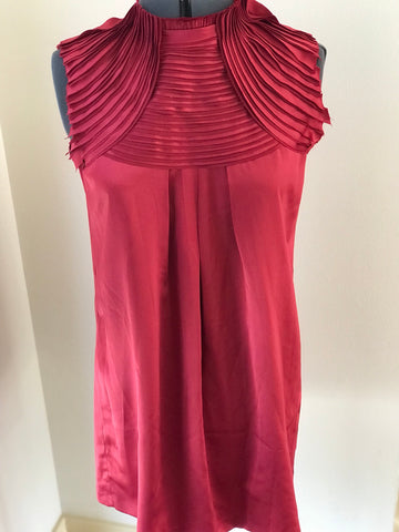 Silk Looking Deep Red Dress with Layered Neckline Sz Medium