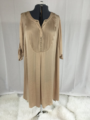 Ellos - Ribbon Satin Like Ribbed Tan Dress - Sz Large - HEART 'n' SLEEVE