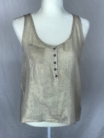 Patterson J. Kinkade  - Silk Blend Metallic Gold Blouse - Sz Small - HEART 'n' SLEEVE