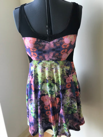 Mesh Cut Out Floral Multicolor Stretch Dress - Sz Medium