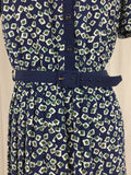 Vintage - Bentley - Navy Blue with Design Midi Dress Belted Classic Buttons w/Belt - Sz 12