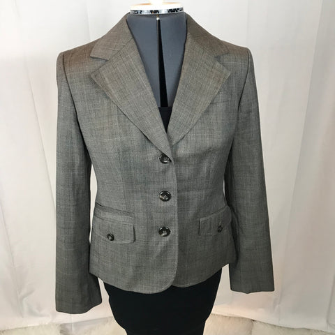 Ann Taylor The Loft - Pinstriped Grey Button Up Blazer - Sz 2 - HEART 'n' SLEEVE
