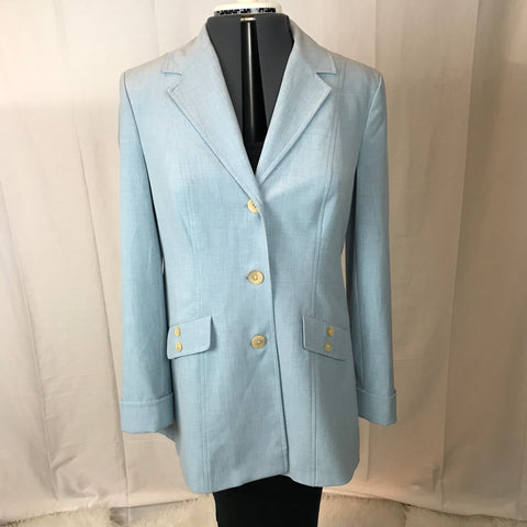 J. Jill - The Perfect Spring Powder Blue Button Up Stretch Blazer - Sz 6 - HEART 'n' SLEEVE