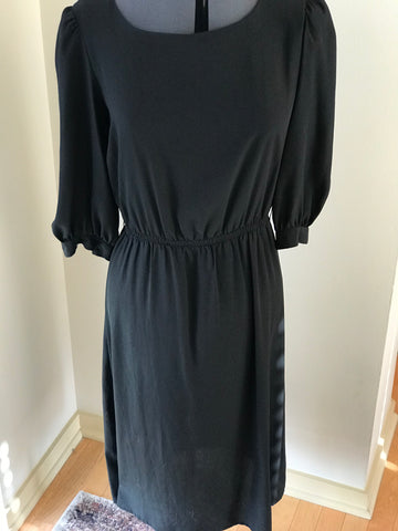 Vintage - Long Sleeve Elastic Waist Classic Black Dress Sz 10