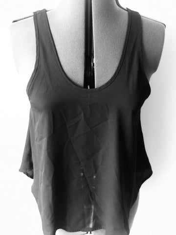 Lush - Black Flowy Sleeveless Top - Sz Small - HEART 'n' SLEEVE