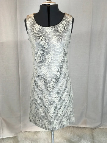 Vintage - Sheath Floral Lace Burn Out w/Striped Under Dress - Sz S (P)