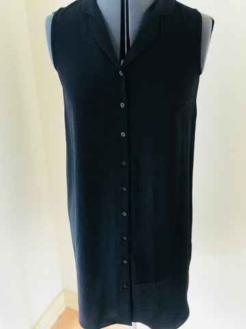 Black Sleeveless Long Button Down Dress/Cardigan - Sz 2