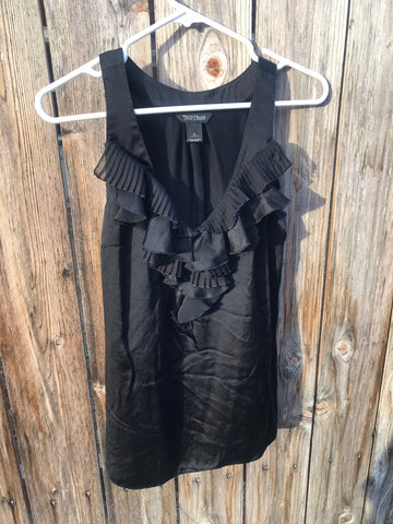 White House Black Market - Sleeveless Silk Ruffled Blouse Top - Sz Small